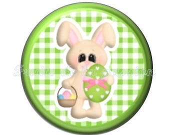 1 cabochon 25mm round glass, animals, Easter bunnies