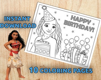 Instant Download! Moana 10 Party Activity Coloring pages / Printable /  Digital / PDF (Non-Personalized)