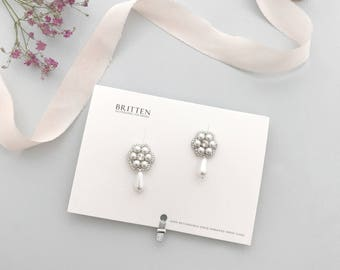 Silver pearl flower wedding earrings, Flower wedding earrings