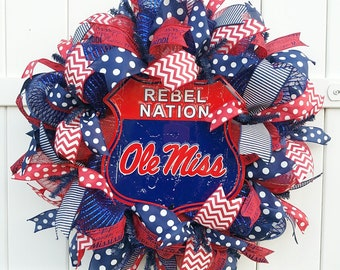 Ole Miss Wreath, University of Mississippi Wreath, Rebels Nation Wreath, Ole Miss Rebels Wreath, Rebels Wreath, Ole Miss Door Wreath