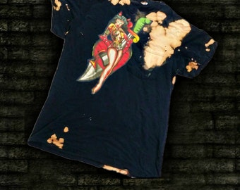 Womens Large Distressed Tshirt with Ed Hardy logo Applique