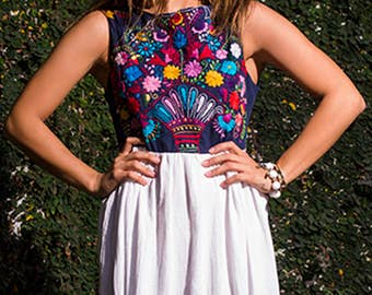 Mexican Embroidered Maxi Dress Dhelia in Navy