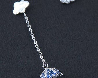 Cute Weather Cloud and Umbrella Dangle Earring