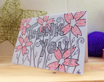 Thank you Card, Hand Drawn Floral Card, Ink Drawing