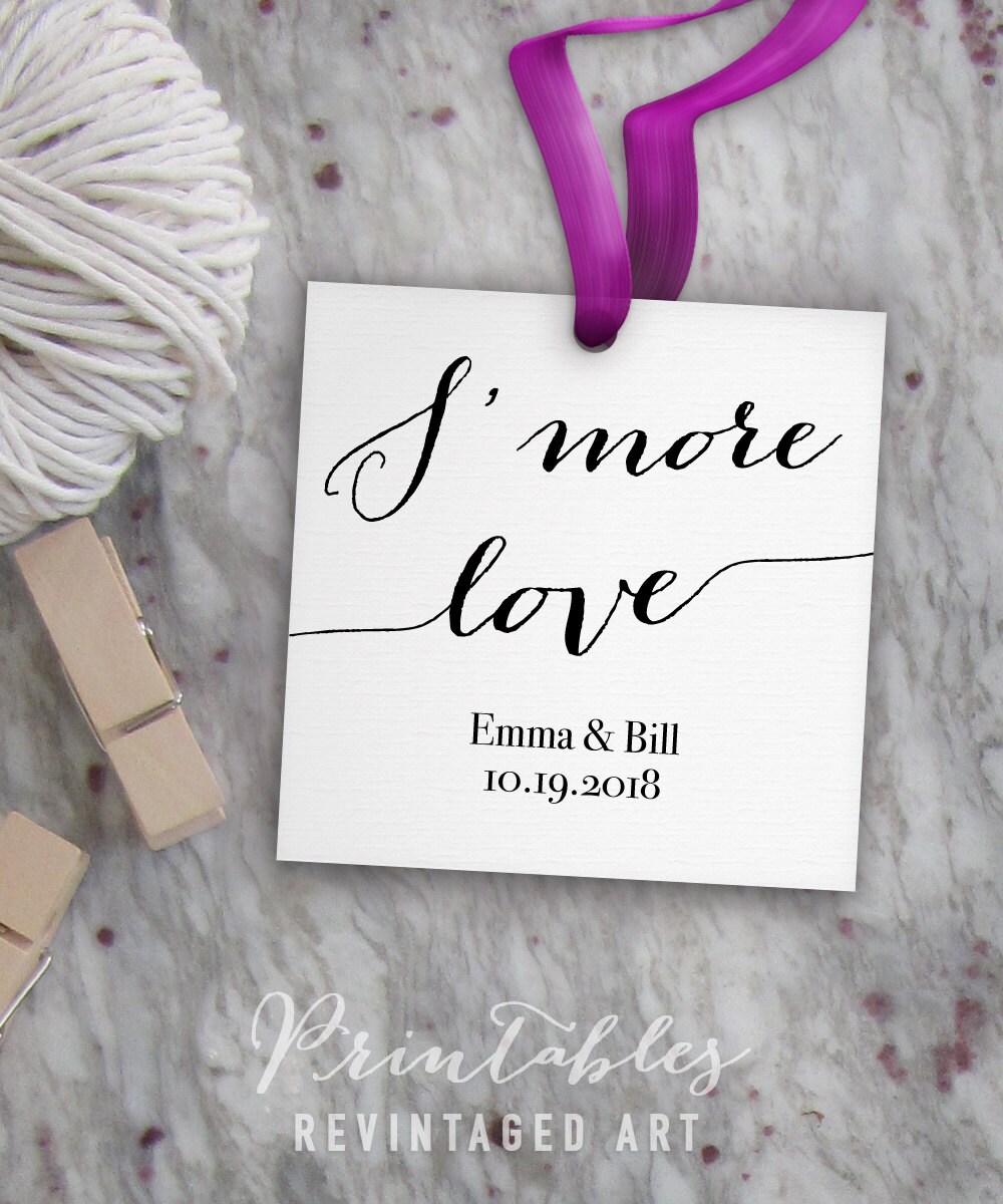 S\'more Love Tag Printable Template // Editable Wedding Tags // DIY ...