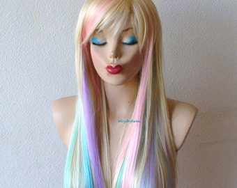 Blonde pastel wig. Fairy princess wig. Long straight hair wig. Durable Heat resistant synthetic wig for Cosplay/ daytime use.