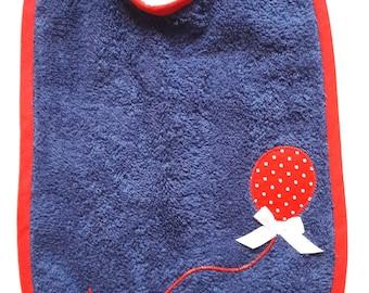 "Bib Navy Blue sponge pattern ""Balloon"" red polka dots * 21 x 31 cm"