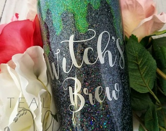 Iridescent-glitter-Witch's brew- halloween- tumbler