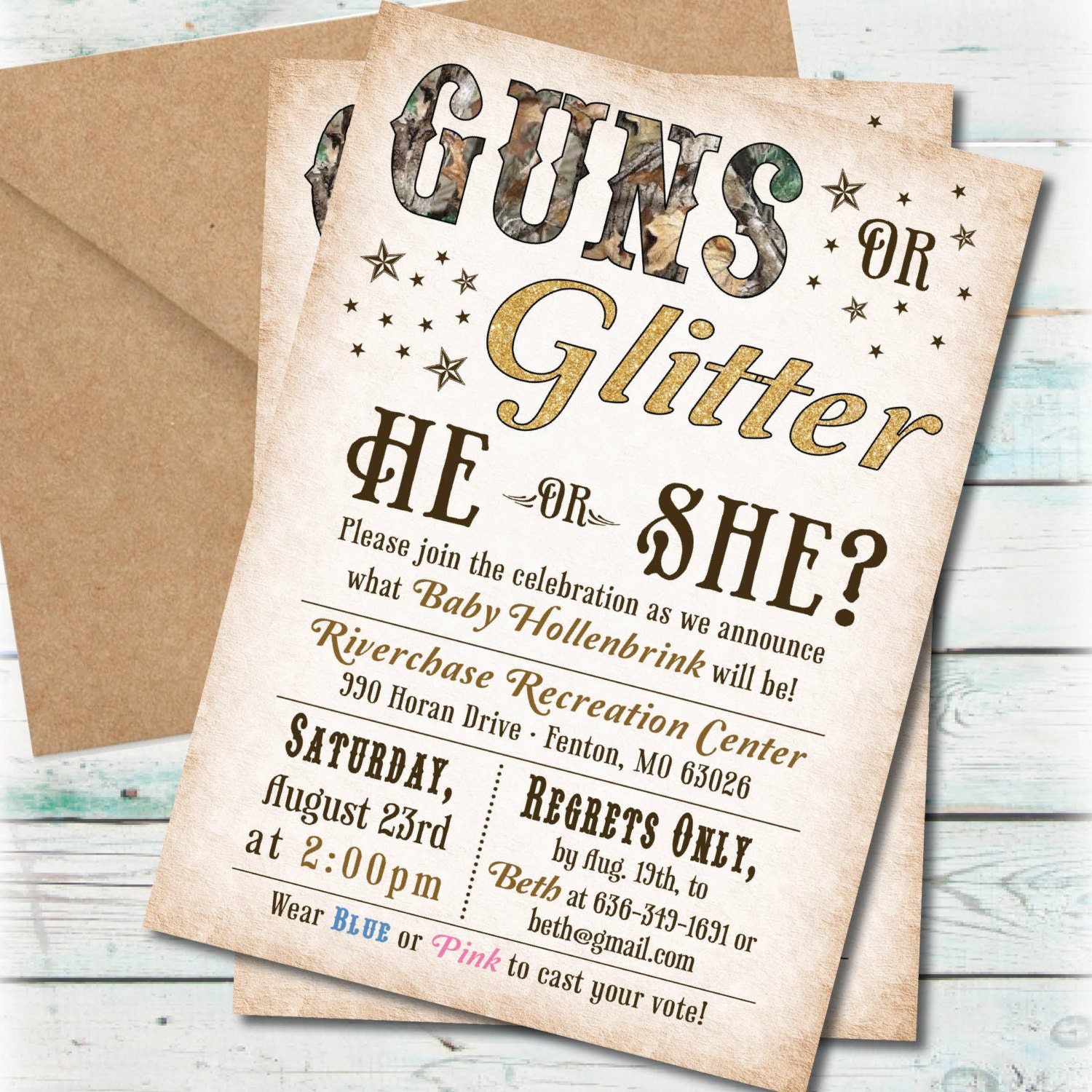 Printable Guns or Glitter Gender Reveal Party Invitation