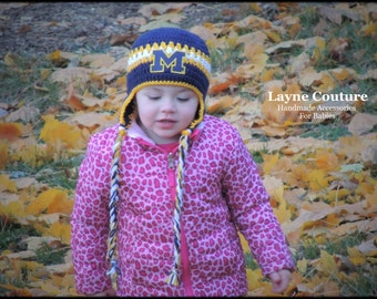 University of Michigan Inspired Handmade Earflap Crochet Baby / Toddler Hat / College Baby / Photo Prop / Custom Made