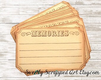MEMORIES Journaling Box -Lined ... Vintage Inspired / Journaling / Scrapbooking / Embellishment / Pocket Letter / Memory / Smash Book / DIY