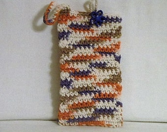 Hand Crocheted Cell Phone/Eyeglass Case with Loop for Purse/Backpack/Belt