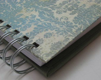 Thankful Journal - Pocket Size - Daily Gratitude - Mini Journal - Gratitude Journal - Grateful Journal - Year Journal - Blue Green Damask