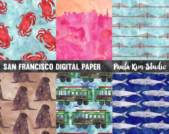 Watercolor Digital Paper, San Francisco Digital Papers Pack, Commercial Use