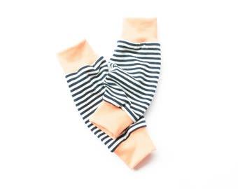 Summer leg warmers, organic jersey leg warmers, baby leg warmers, baby legwarmers, black striped leg warmers, baby girl summer