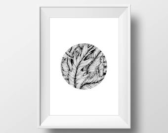 Leaves, Ink, Wall Prints, Scandinavian Art, Black and White Prints, Wall Decor, Scandinavian Wall Prints, Modern Wall Print, Printables