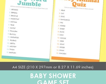 Printable Baby Shower Games Set A4