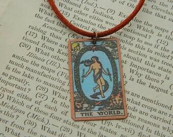 Tarot pendant tarot jewelry The World  mixed media jewelry