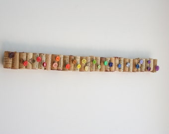 Wine Cork Bulletin Board and Thumbtacks - Set of 24 thumbtacks - made with winecorks and buttons