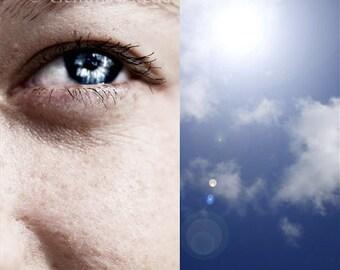 Eye Am Optimistic - Surreal Photo, Abstract Photo, Fine Art Photo, Inspiring Photo, Blue Wall Art, Sky Photo, Eye Photo, Whimsical Wall Art