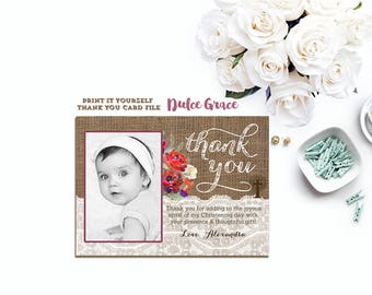 Print Your Own Christening Thank You Cards, Winter Thank You Cards, Christmas Thank You Note, Thank You with photo, Baptism Thank You
