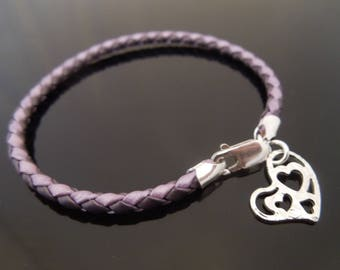 3mm Two Tone Purple Braided Leather Bracelet With 925 Sterling Silver Hammered Heart Charm