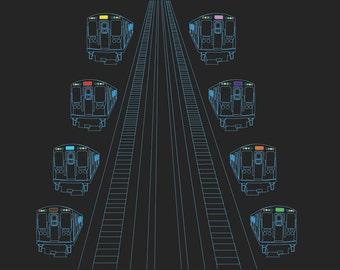 Chicago El Train and Tracks