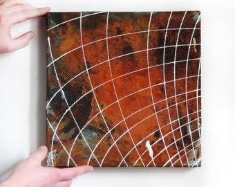 """12 x 12"""" Pendulum Oil Painting on rusted panel, Gallery art, One-of-a-kind artwork"""