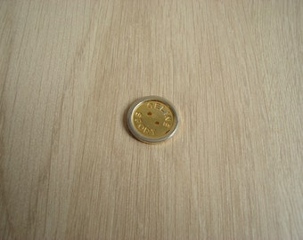 button round Golden silver metal with inscription