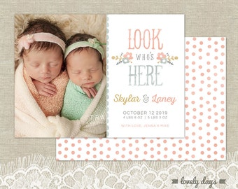 Girl Birth Announcement Template Photoshop INSTANT DOWNLOAD