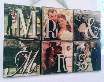 6 photo blocks - Images transferred to wood, not glued - photo wood transfer - Last name blocks - FAMILY