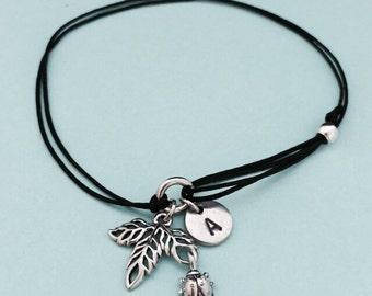 Leaf cord bracelet, leaf charm bracelet, adjustable bracelet, charm bracelet, personalized bracelet, initial bracelet, monogram
