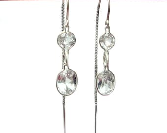 White topaz threader dangle earrings