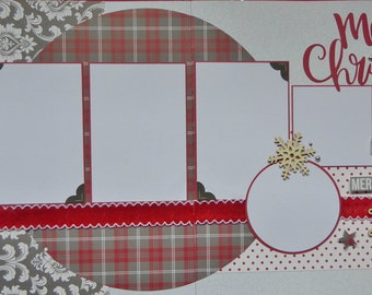 Merry Christmas- Double page 12 x 12 pre-made scrapbook layout kit