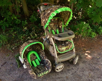 Camo Covers for your carseat and stroller -Advantage Max5 and Lime Green Minky // Camo carseat and stroller cover