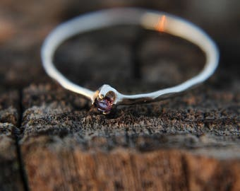 Amethyst, sterling silver hammered stacking ring with 2mm stone