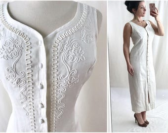 1990s Summer White Embroidered Sleeveless Linen Maxi Festival Dress | New Old Stock | Laundry Shelli Segal | Summer Dress | Vintage Clothing