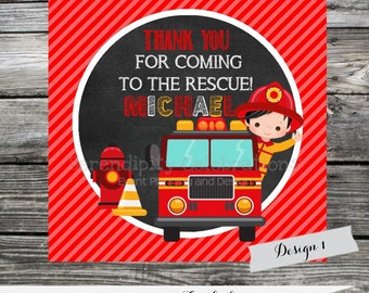 DIY Firetruck Favor Tags -Printable Favor Tags- Fireman Stickers -Thank You Tag -Gift Tag -Sticker -Firetruck -Fireman -Birthday -BabyShower