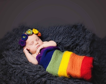 Rainbow Baby Flower Headband and Cocoon Set - Newborn Baby Photography Prop Set - Gifts for Baby Shower - Gifts for Baby