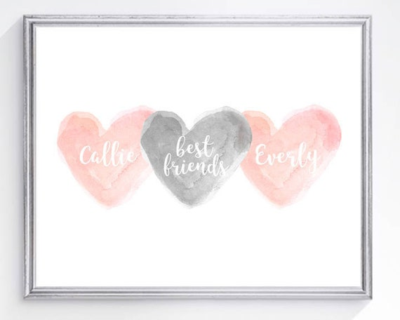 Sisters and Best Friend Print in Blush and Gray, 8x10 Personalized