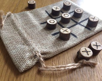 Tic tac toe, noughts and crosses, twig, wooden game, wedding favour, travel game