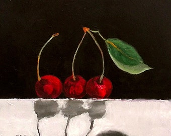 Red CHERRIES Painting Impressionist Summer Orchard Garden Fruit Still Life Art Lynne French 12x12