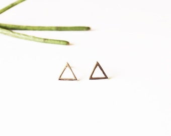 Minimalist Silver Stud Earrings - Open Silver Triangle Earrings