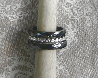 "Silver ring and ceramic ""Trio"" Anthracite"