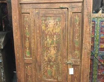 Ancient Spirituality 18c Antique Indian Hand Carved Vintage Door Dancing Ganesha Painted Wooden Doors