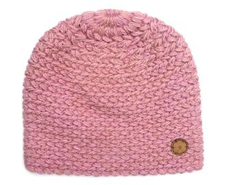 Bonnet pink, big mesh 100% natural color alpaca, hand made