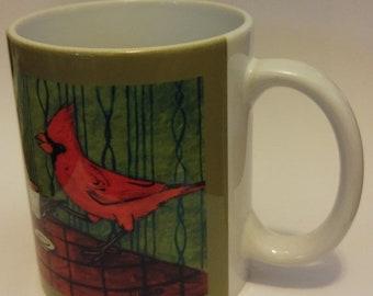 25% off cardinals at the coffee shop cafe bird art mug cup 11 oz dog art mug cup 11 oz gift