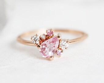 Pink ring, Pink Engagement Ring, Pink Gold Ring, pink sapphire ring, pear sapphire ring, peach ring, peach sapphire ring, diamond ring