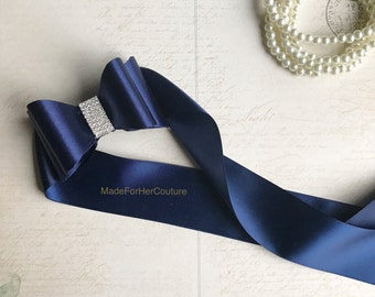 Navy Bridesmaid Sash Belt, Flower girl Sash, flower girl belt, Rustic Sash,  Bow Sash, wedding belt,  bridal sash/belt, , Bow belt