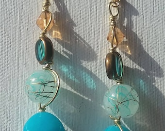 Blue Stone Glass Earrings